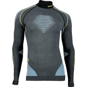 UYN Evolutyon Melange UW LS Turtle Neck Shirt Men anthracite melange/blue/yellow shiny